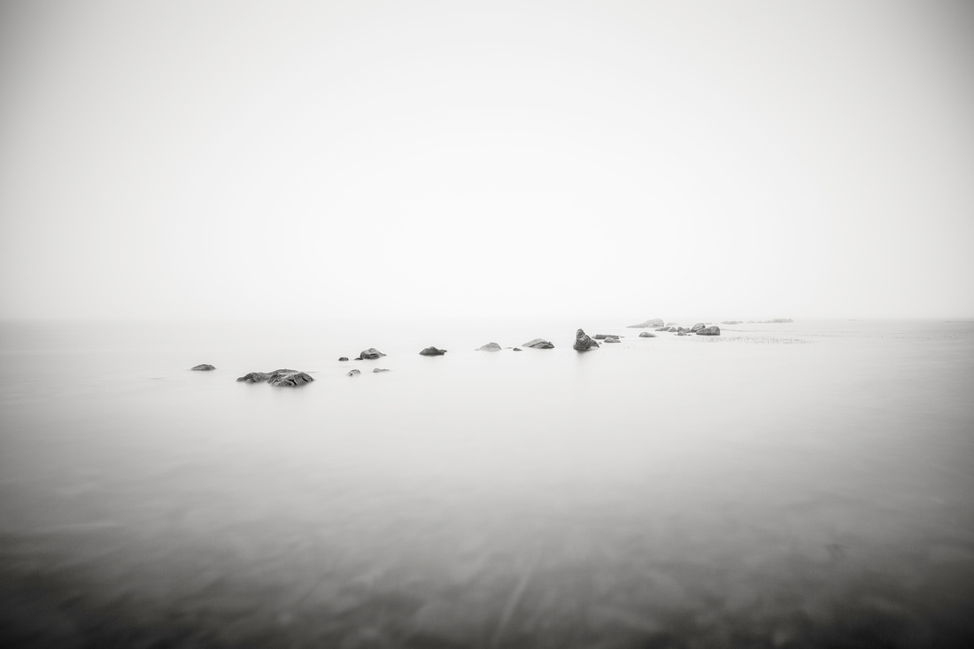 Rocks on the surface in the fog