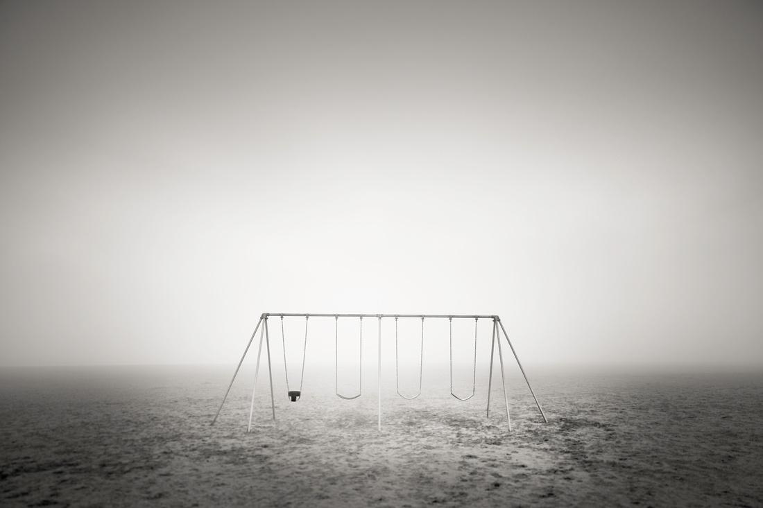 Oceanside Oregon Beach Swing in the Fog